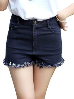 Rough Fringes Pure Color Denim High Waisted Shorts Women's Bottoms on buytrends.com