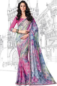 Multi Color Designer Printed Saree Online From Hdbazaar.