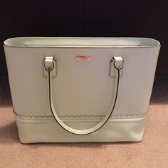 """Kate Spade Mint Malena Lilac Road Lrg Leather Tote Smooth leather 14"""" W x 12-1/2"""" H x 5"""" D Double handles with 8.5"""" drop Zip-top closure; flat bottom with protective feet Interior features zip, cellphone and multi-function pockets, item is slightly used looks new kate spade Bags Totes"""