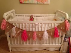 Tissue Paper Tassels using a burlap banner and tissue shreds from Nashville Wraps. Super cute for baby showers!