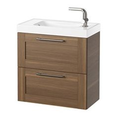 GODMORGON / HAGAVIKEN Sink cabinet with 2 drawers, walnut effect - 60x34x65 cm - IKEA