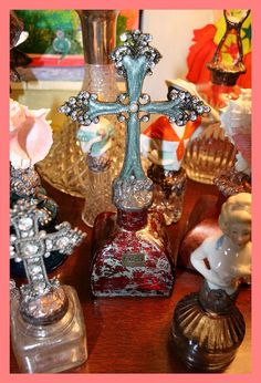 **SOLD** Bejeweled Handcrafted Cross Bottle Design By Artist Terri Smith