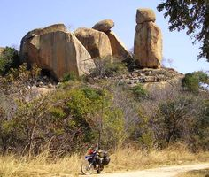 Matobo National Park, just outside Bulawayo: These teetering tons of old stones are all over the place, and I've decided that having a crash helmet to hand when out and about in this countryside is quite an advantage, safety-wise. #Zimbabwe