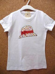 camiseta sombrero de lazo rojo  camiseta de algodón,tela de algodón estampada,hilos de bordar aplique cosido a mano,patchwork