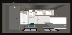 bathroom dimensions--Transitional Rendering by Steven Corley Randel, Architect