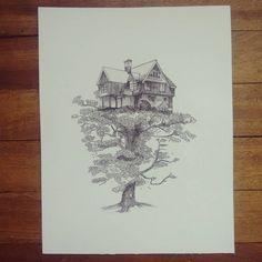 """ Hogar sostenido "" dibujo sobre durex. #Himallineishon #drawing #house #tree #staedler"