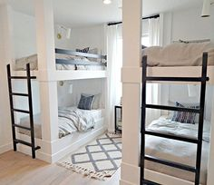 A Bedroom With Adult Bunk Bed - Decor Around The World - Tiny house kids room, tiny space room ideas, modern kids r - Bunk Bed Decor, Bunk Bed Rooms, Adult Bunk Beds, Bunk Beds Built In, Modern Bunk Beds, Bunk Beds With Stairs, Double Bunk Beds, Bunk Beds For Adults, Queen Bunk Beds
