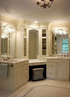 Sit-down vanity with his and hers sink vanities