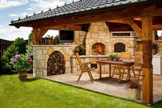 Basic Kitchen Area Concepts For Inside or Outside Kitchen areas – Outdoor Kitchen Designs Backyard Kitchen, Outdoor Kitchen Design, Backyard Patio, White Kitchen Appliances, Outdoor Cooking Area, Outdoor Living, Outdoor Decor, Pergola, Outdoor Structures