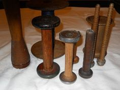 Vintage Antique Lot of 9 Wooden Sewing Spools BOBBINS Old | eBay