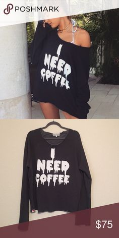 Wildfox I Need Coffee Pullover Sweatshirt Size small and in perfect condition. NO TRADES Wildfox Sweaters Crew & Scoop Necks