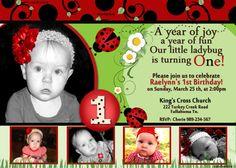 Ladybug Printable Birthday Invitation by Sarahmkey on Etsy, $10.95