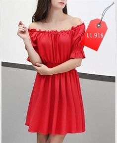 Graceful Half Sleeve Off-The-Shoulder Red Elastic Waist Dress For Women