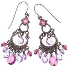 1928 Pink Chandelier Earrings ($12) ❤ liked on Polyvore featuring jewelry, earrings, purple, pink amethyst earrings, fake earrings, formal earrings, amethyst jewelry and 1928 earrings