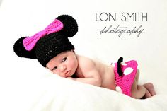 Baby Minnie Mouse Inspired Costume Set Hat Skirt Diaper Cover in Pink White Black - Winter Outfit Newborn Boy Girl Thanksgiving Photo Prop. $37.99, via Etsy.