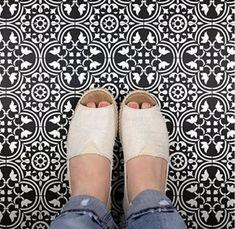Scandinavian Tile, Stenciled Floor, Floor Stencil, Paint Thinner, Stencil Designs, Tile Stencils, Stenciling, Ancient Beauty, Diy Flooring