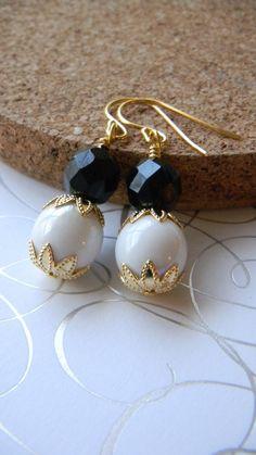 Black and white Dangle earrings by JulieEllisDesigns