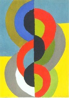 Sonia Delaunay | Demi Circles sur Bleu et Jaune (1962)