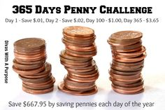 How To Succeed At The 52 Week Money Challenge » A variation of the challenge my kids and I are using this year. We're saving 1 penny for each day of the year. Day 1 - 1 cent, Day 2 - 2 cents, etc. Of course, we'll have some slacker moments but the weekly totals to make up are easy for my tween and kindergartner to work together to obtain.  Divas With A Purpose