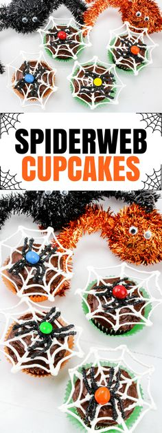 Make these fun Halloween spiderweb cupcakes with chocolate spiders this year for #Halloween! Just follow this easy recipe tutorial.