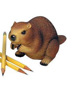 Busy Beaver Desktop Pencil Sharpener by Streamline NYC Gifts, Home Decor, Brown, Desk, Office Supplies, Work, Decor, Funny, Cute, Decorations, Witty, Quirky, Pencils