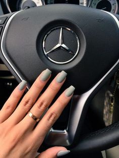 [Hair and beauty]Coffin Nails matte acrylic Grey Matte Nails, Matte Acrylic Nails, Blue Nails, Acrylic Nail Designs, Matte Black, Acrylic Nails Coffin Short, Olive Green Matte Nails, Acrylic Nails For Fall, Nexgen Nails Colors