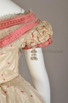 Detail View of Silk Taffeta & Pink Dress Bodice, 1860s.