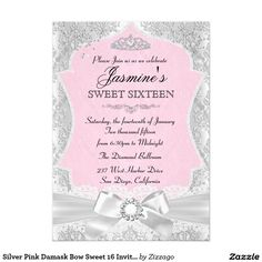 Silver Pink Damask Bow Sweet 16 Invitation