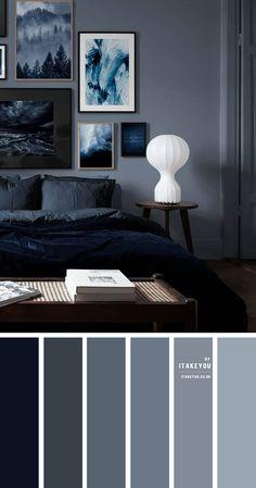 Grey Colour Scheme Bedroom, Dark Gray Bedroom, Dark Blue Bedrooms, Bedroom Wall Colors, Blue Rooms, Room Ideas Bedroom, Bedroom Green, Home Decor Bedroom, Best Colour For Bedroom
