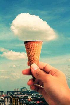 Helado, nuve, ice cream, cloud