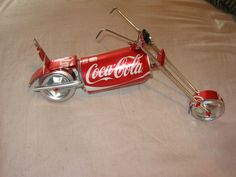 aluminum can Coca Cola  can chopper motorcycle folk art can crafts recycle