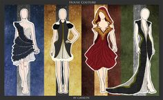 Hogwarts House Couture: Ravenclaw, Hufflepuff, Gryffindor, Slytherin