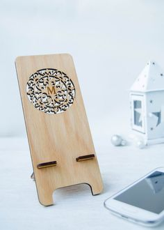 Carved phone stand initial personalized gift with by myPhoneStand