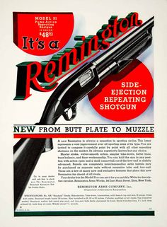 1932 color print ad for the Model 31, 12 Gauge, side ejection, repeating shotgun that was made and sold by the Remington Arms Company, Inc.