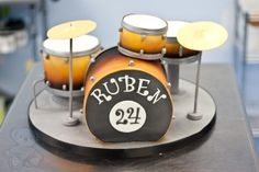 Drum Set Birthday Cake — recreation of a drum set, in cake. 4 cakes, fondant symbols, great airbrushing techniques. =)