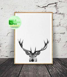 Deer Print, Deer Antlers, Woodlands Decor, Wilderness Wall Art, Nursery Black and White, Animal Print, Printable Art, Deer Head Download by SiriiMirri on Etsy