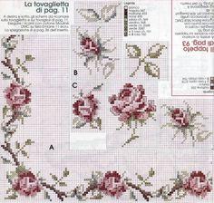 Cross-stitch Pink Rose Border