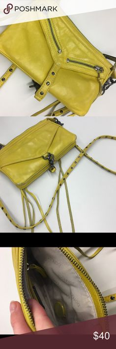 """Botkier Trigger Moto Convertible Clutch - Yellow Removable crossbody strap with studded detail, 21"""" drop  Zip top  6""""H x 8 1/2""""W x 1 1/2""""D.  Authentic Botkier  Gently worn Botkier Bags Crossbody Bags"""