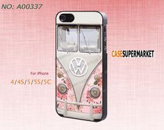 Phone Cases, iPhone 5/5S Case,  iPhone 5C Case, iPhone 4/4S Case, Phone covers, Rose, Floral, VW mini bus, Case for iPhone-A00337