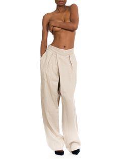 1970s Vintage Issey Miyake Wide-leg Linen Pleated Pants