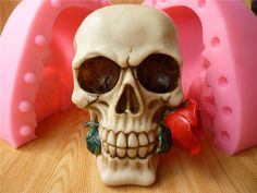 NEW ARRIVAL Limited Stocks 3D Skull Head Rose Silicone Mold Fondant Chocolate Soap Candles Clay Tool by MsDIYSupplies on Etsy