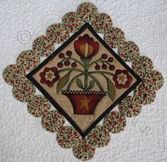 YoYos for the Table sq.) Quilted by Sue Hickman from Berryville, Va 3d Quilts, Small Quilts, Mini Quilts, Crazy Quilting, Felt Applique, Applique Quilts, Small Sewing Projects, Sewing Crafts, Stool Cover Crochet