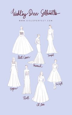 Wedding Dress Silhouettes, fit to flare not noted; but closest to modified trumpet and in between true trumpet and true mermaid. Just a guide of course kleider zeichnen Planning Wedding Dress Silhouettes - Perfete Wedding Dress Shapes, Wedding Dress Silhouette, Wedding Dress Trends, Wedding Dress Sketches, Dress Wedding, Different Wedding Dress Styles, Different Types Of Dresses, Wedding Dresses Fit And Flare, Trumpet Style Wedding Dress
