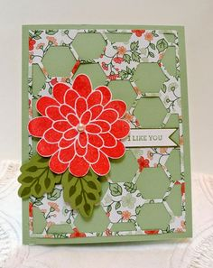 Stampin' Up! Hexagon Hive thinlits die with Flower Patch and I Like You stamp sets