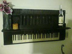 Shelf created using an antique piano.