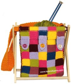 Tejiendo peru: bolso porta tejidos en dos agujas y crochet