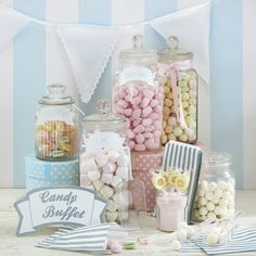 Use this candy bar kit from our vintage wedding range to make your wedding Candy Buffet look stylish and inviting.Vintage Candy Bar Kit - Nostalgic sweets are making a comeback and are hugely popular at weddings and parties. Deco Candy Bar, Candy Bar Party, Candy Table, Candy Buffet Tables, Dessert Tables, Wedding Candy, Diy Wedding Favors, Cotton Candy Wedding, Lace Wedding