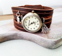 Chocolate brown leather long strap watch wrap by MKedraDecoupage, $23.00