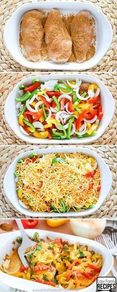 Chicken Fajita Bake- So easy and delicious! dinner chicken Easy Baked Chicken Fajitas- Healthy and Delicious- Easy Family Recipes Baked Chicken Fajitas, Easy Baked Chicken, Chicken Fajita Casserole, Healthy Chicken Dinner, Easy Supper Ideas Chicken, Chicken Dinner Meals, Baked Chicken Seasoning, Baked Chicken And Veggies, German Recipes