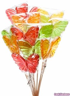 butterfly hard candy lollipops